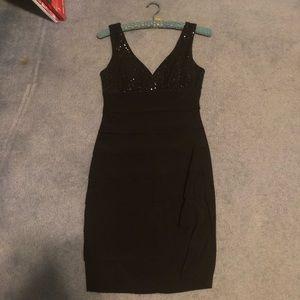 Black two strap cocktail dress